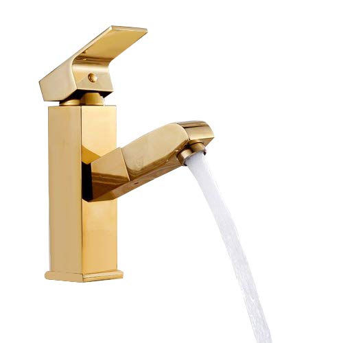 - KunMai Modern Pullout Spray Single Handle Bathroom Sink Faucet (Gold)