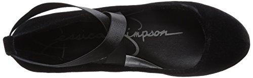Jessica Simpson Women's Mandayss Ballet Flat, Parent Black Sparkle Velvet