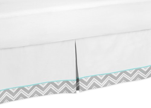 Sweet Jojo Designs Turquoise and Gray Chevron Zig Zag Bed Skirt for Toddler Bedding Sets by Sweet Jojo Designs