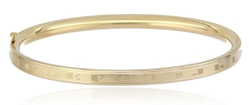 Girls' 14k Yellow Gold Hinged Engraved Alphabet Bangle Bracelet by Amazon Collection