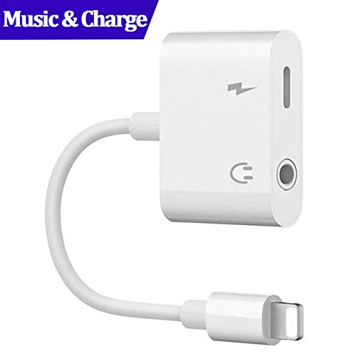 Klopor 2 in 1 Adapter to Charger and Aux Earphones Stereo Jack Dual Headphone Audio & Charge Adapter