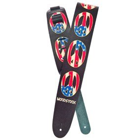 Planet Waves Woodstock Collection Leather Guitar Strap, Peace Flag