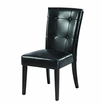 modus furniture 2y0266 bossa dining height parsons chair black leatherette set of two