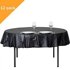 12-Pack Round Table Cloth 84 Inch Plastic Table Cover Wedding Birthday Party Disposable Table Cloth - Black