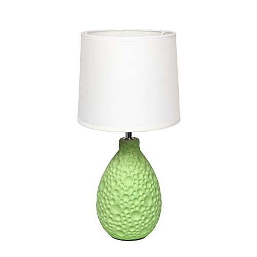 Simple Designs LT2003-GRN Texturized Stucco Ceramic Oval Table Lamp, Green