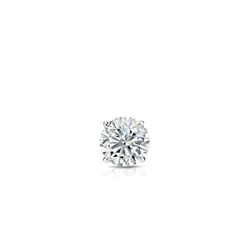 18k White Gold 4-Prong Basket Round Diamond SINGLE Stud Earring (0.08ct, Good, I2-I3) by Diamond Wish