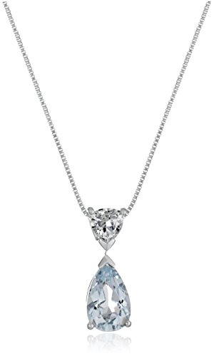 White Trillon Shape Aquamarine Pendant Necklace