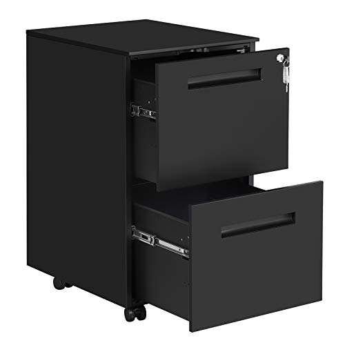SONGMICS Mobile File Cabinet, with 2 Drawers, Lock, Suspended Folders, Pre-Assembled, 15.4 x 19.7 x 27.4 Inches, Matte Black UOFC52BK (Drawers Chest Already Assembled Of)