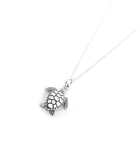 Silver Sea Turtle Necklace - Sea Turtle Sculptural Sterling Silver Charm Necklace Ocean Nautical Marine Life Jewelry (20 Inches)