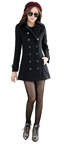 OUCHI Women Winter Wool Blend Turn Down Collar Double-breasted Outwear Coat Black