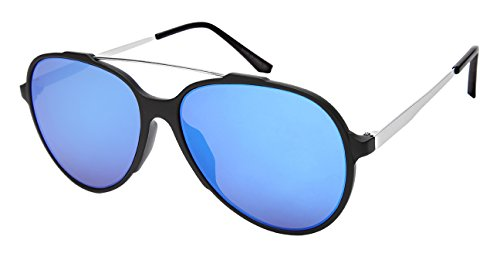 Edge I-Wear Modern Top Bar Aviators w/Color Mirror Lens - Couture Haute Sunglasses