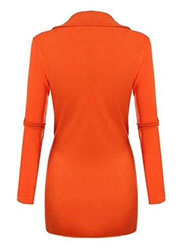 Slim Basic Longues Femme Cou Automne Vintage Fashion Chemisiers Printemps V Tunique Tops Couleur Orange Fit Shirt Manches Vetement Casual Haut Irrgulier Elgante Unie fEwXfIqcO
