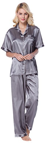 Petite Satin Pajamas - SunRise Women's Short Sleeve Classtic Satin Pajama Set (Large, Silver Grey)