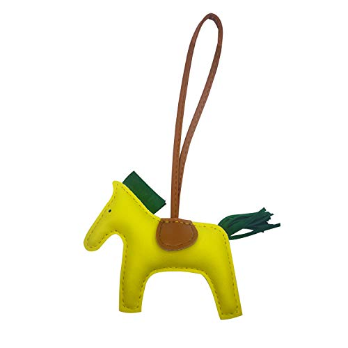 Bag Charm for Women Purse Charm Horse Leather Keychain Handbag Accessories (Yellowgreen)