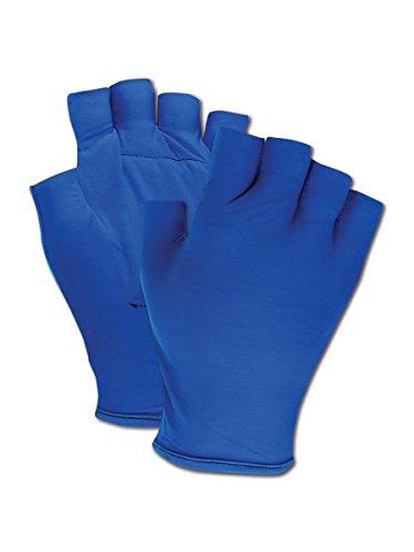Magid ATV101S Fingerless Gel Palm Padded Impact Glove, Small, Blue (One Pair) (Fingerless Padded Gloves)