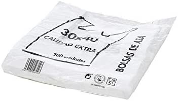 Natural Apiary Envio 24H Bolsas de Plastico Asa Camiseta Blanco Disponible Varios TAMAÑOS - Fabricadas en España Eco-Friendly (30 x 40 cm. (200 Unidades)