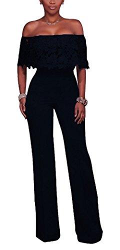 Bestdress Women's Sexy Off Shoulder Lace Top High Waist Long Wide Leg Jumpsuit Rompers Large Black by Best Dress