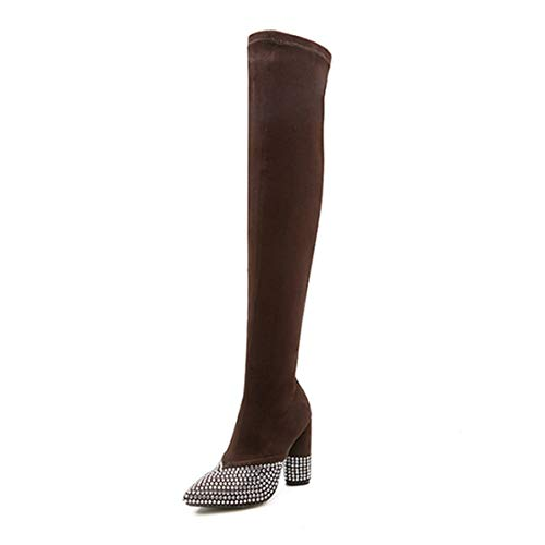 DOSOMI Women's Nubuck Leather Over The Knee Rhinestone Thick High Heel Thigh High Winter Boots Brown