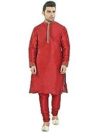 Kurta Pajama for Men Long Sleeve Hook & Eye Pyjama Set Indian Partywear Clothing