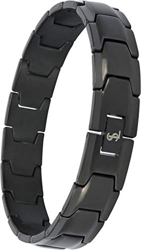Smarter LifeStyle Elegant Surgical Grade Steel Men's Wide Link Stylish Bracelet, 4 Colors to Choose from (Black)