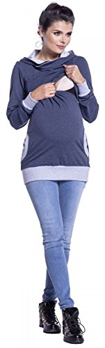 Zeta Ville - Sudadera de lactancia 2 en 1 detalles contraste - para mujer - 467c Jeans Mezcla & Gris