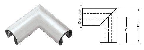 Mill 1.9'' Diameter 90 Degree Horizontal Corner for 1/2'' or 5/8'' Glass Cap Railing
