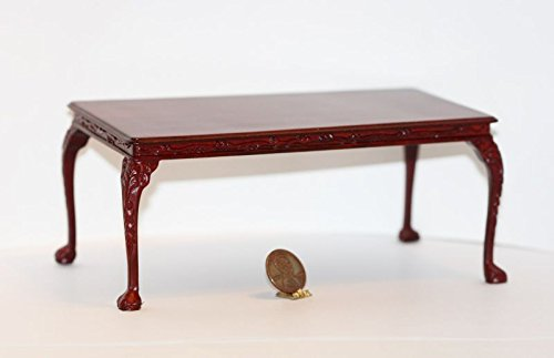 Dollhouse Miniature Hand Carved Rectangular Table in -