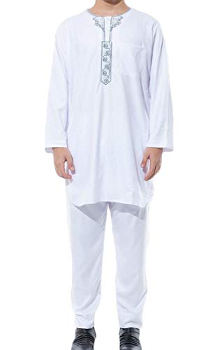 BLTR Men Thobe Muslim 2 Piece Set Wear Ramadan Long for sale  Delivered anywhere in USA