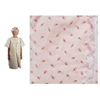 - LadyLace Patient Gown PINK/ROSEBUD - SHORT SLEEVES