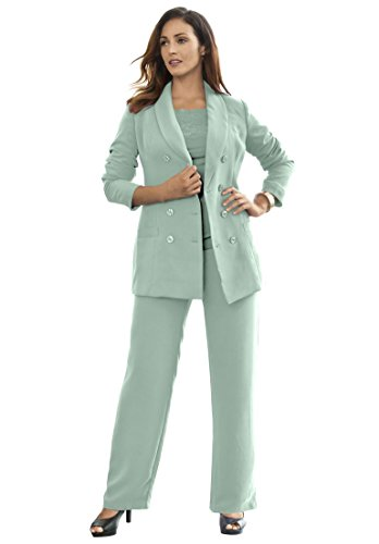 Jessica London Women's Plus Size Double-Breasted Pantsuit Smoky Mist,30