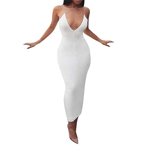 (☆HebeTop Women's Sexy Bodycon Sleeveless Ruched Party Mini Cocktail Dress White)