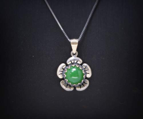 Natural Green Jade Necklace Sterling Silver Life of Flower Halo birthstone Box Chain