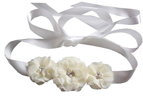 - Bridesmaid and Flowergirls sashes wedding sash pearls flowers belts (Ivory)