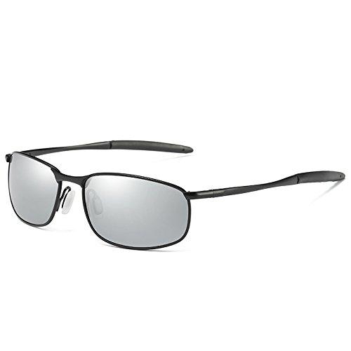 polarizadas Black estilo de gafas sol hombres deslumbramiento TIANLIANG04 polarizadas gafas Silver conducción gafas Plata UV400 gafas Negro de anti sol moda de de 10AOq