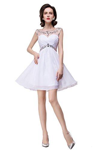 Babyonline White Homecoming Dresses New Short Party Dresses For Teens,White,4 (White Dress For Teenager)