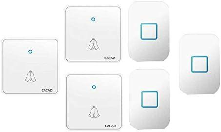 ウォールプラグインコードレスドアチャイム、1000フィートレンジのポータブル電動ドアベルキット、60トーン5ボリュームレベル3プッシュボタンと3レシーバー,白