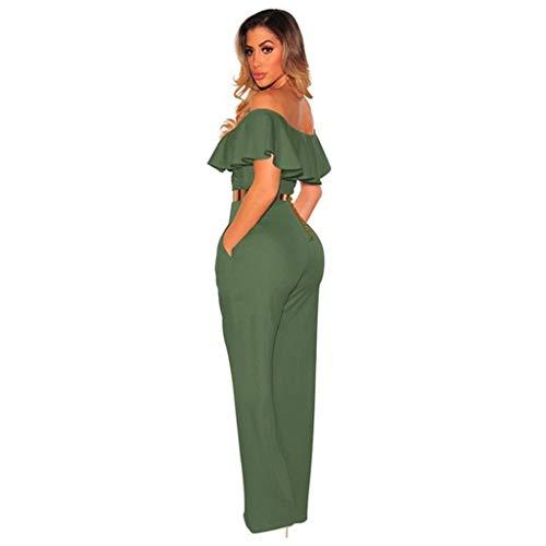 Manches Sans Épaule Sexy Moulantes Green Des Longues À Mode Bessky Jupe Pantalonsla Femmes Volants Hors F1lJKT3c