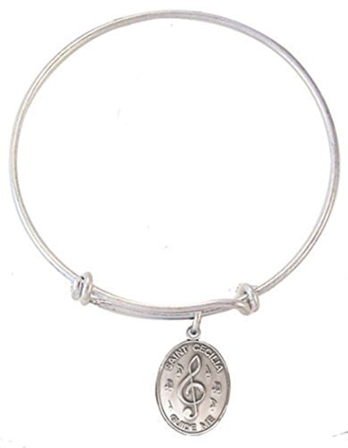 (Silver Toned Base Bangle Bracelet with Pewter Saint Cecilia Music Medal, 7 1/2 Inch)