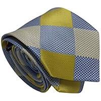 Gravata Slim Trabalhada Xadrez Importada Amarelo Azul Prata