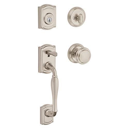 Baldwin Wesley Single Cylinder Front Door Handleset Featuring SmartKey Security in Satin Nickel, Prestige Series with Traditional Door Hardware and Alcott Knob