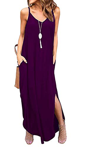 - TODOLOR Women's Summer Casual Loose Dress Sleeveless Beach Cover Up Long Cami Maxi Dresses with Pocket (L, Purple)