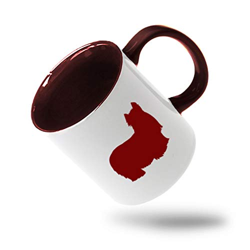 Style In Print Maroon Yorkshire Terrier Silhouette Ceramic Cup Colored Mug - Maroon