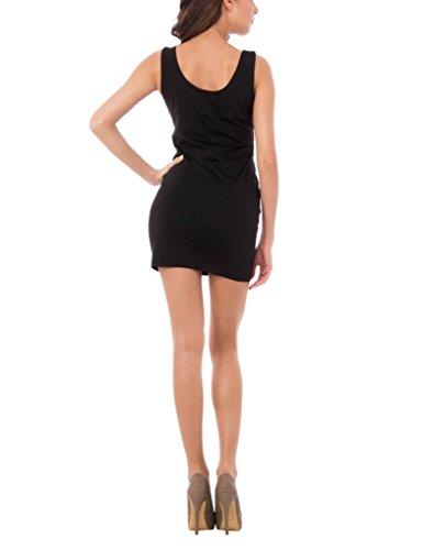 Con Tubino Sophistiquees Damen Smanicato Schwarz Decorative Kleid Abito Les Zip R6FAwqC6
