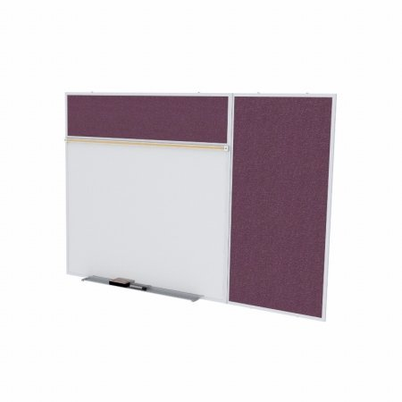 Ghent SPC410B-V-187 4 ft. x 10 ft. Style B Combination Unit - Porcelain Magnetic Whiteboard and Vinyl Fabric Tackboard - Berry