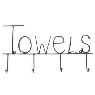 Aunt Chris' Products - Black Metal Towel Hooks - The Word ''Towels'' In Modern Lettering Across The Top - Four Hooks For Easy Bathroom Organizing - Use Inside Or Outside by dist by American mud products
