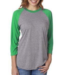 (Next Level Women's Rib Collar 3/4 Sleeve T-Shirt, Envy/ Premium Heather, Large)