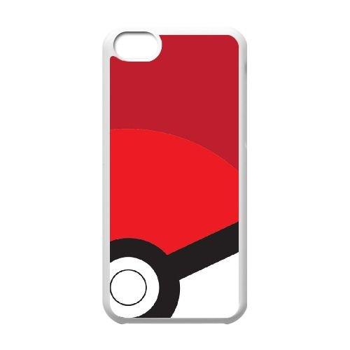 Pokemon Y2N37 pokeball L6K2WI coque iPhone rouge cas de téléphone cellulaire 5c couverture de coque RX6DKM8MS blancs
