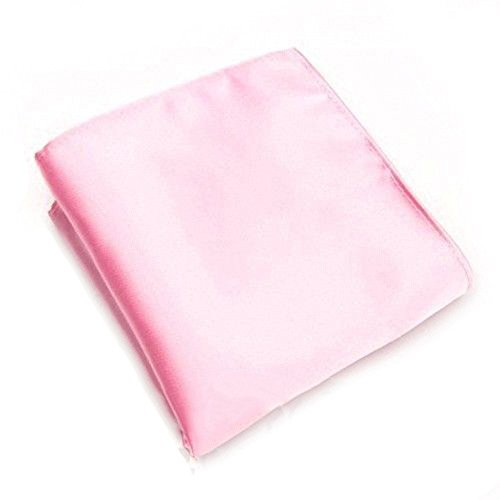 Academyus Men's Satin Pocket Square Plain Solid Color Wedding Party (Soft Pink Satin)