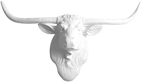 WALL CHARMERS Large White Faux Longhorn Head – 35 inch Faux Taxidermy Animal Head Wall Decor – Handmade Farmhouse Decor