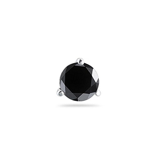 0.23-0.30 Cts of 3.00-3.50 mm AAA Round Black Diamond Mens Stud Earring Martini Setting in 14K White Gold - Valentine's Day Sale - Round Diamond Martini Setting